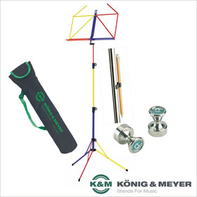 Bundle K&M 100/5 Notenpult-Set rainbow bunt mit Tasche 10012 + 2x Power Magnet + Bleistifthalter