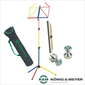 Bundle K&M 100/1 Notenpult-Set rainbow bunt mit Tasche 10012 + 2x Power Magnet + Bleistifthalter