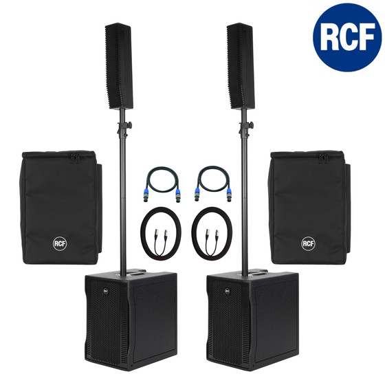 Bundle RCF 2x EVOX 8 V2 aktives PA System 1400 Watt inkl Cover + Kabel