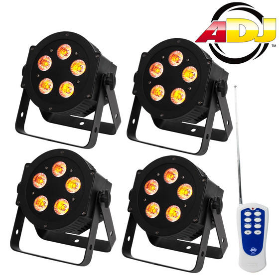 Bundle 4x American DJ 5P Hex LED Slim PAR Kanne 5x10Watt RGBAW+UV inkl Fernbedienung