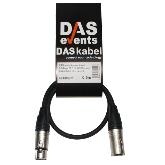 DASkabel - Sommer Cable SC-Stage 22 Profi XLR Mikrofon Audio Kabel 0,6m (Neutrik)
