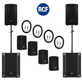 "Bundle 2x RCF SUB 702-AS II Bass + 2x HD-10-A MKIV 4400 W Stative ""ring lock"" Kabel Taschen"
