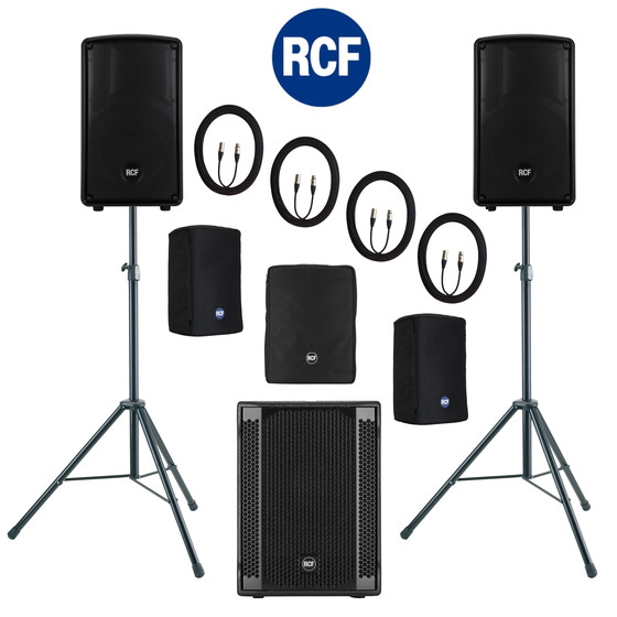 Bundle 1x RCF SUB 702-AS II Bass + 2x HD-10-A MKIV 3000 W K&M Stative Kabel Taschen