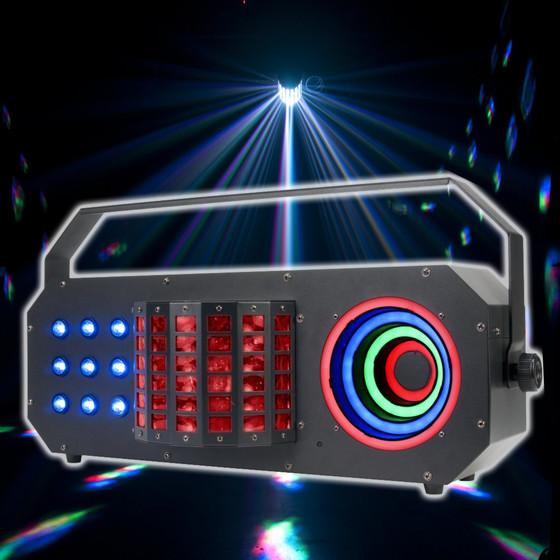 ADJ Boom Box FX3 3in1 Effekt Derby + LED Matrix + LED Hypno Visual Ring Effekt