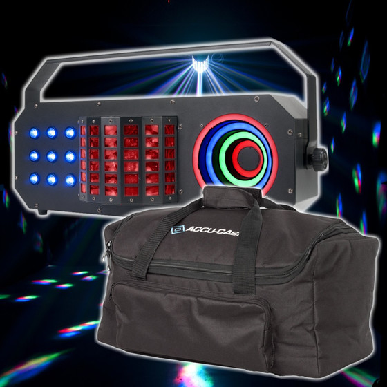Bundle ADJ Boom Box FX3 3in1 Effekt Derby + LED Matrix + LED Hypno Visual Ring Effekt inkl. Tasche