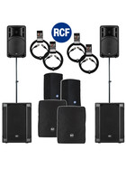 Bundle 2x RCF SUB 708-AS II Bass + 2x ART 312-A MK4 4400 W Stative Kabel Taschen