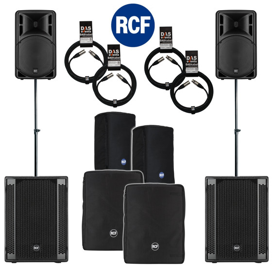 Bundle 2x RCF SUB 708-AS II Bass + 2x ART 315-A MK4 4400 W Stative Kabel Taschen