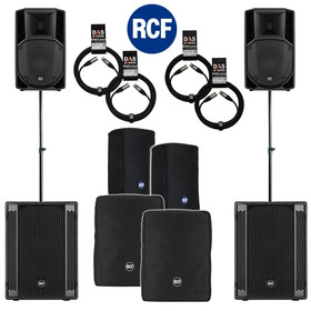 Bundle 2x RCF SUB 708-AS II Bass + 2x ART 712-A MK4 5600 W Stative Kabel Taschen