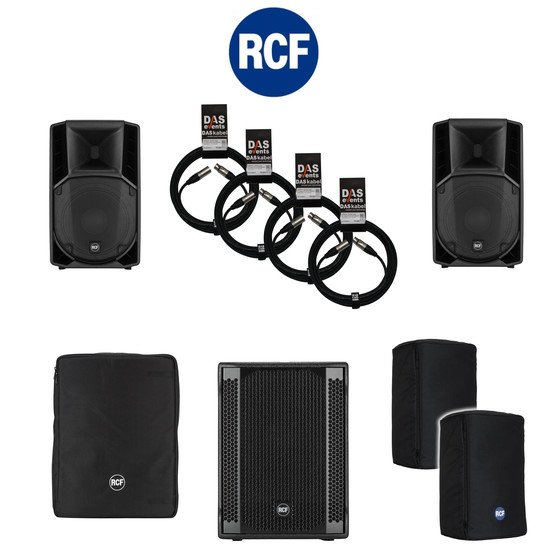 Bundle 1x RCF SUB 708-AS II Bass + 2x ART 712-A MK4 4200 W Kabel Taschen