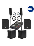 "Bundle RCF 2x EVOX 8 ""V2"" aktives PA System 1400 Watt inkl Cover + Kabel + Mixer L-PAD 8CX"