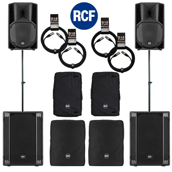 Bundle 2x RCF SUB 702-AS II Bass + 2x ART 710-A MK4 5600 W Stative Kabel Taschen