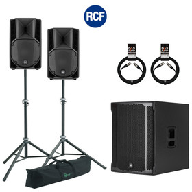 Bundle RCF SUB 905-AS II Bass + 2x ART 710-A MK4 5000 W K&M Stative Set + Kabel