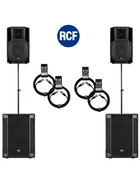 Bundle 2x RCF SUB 905-AS II Bass + 2x ART 712-A MK4 7200 W K&M Distanz + Kabel