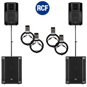 Bundle 2x RCF SUB 905-AS II Bass + 2x ART 735-A MK4 7200 W K&M Distanz + Kabel