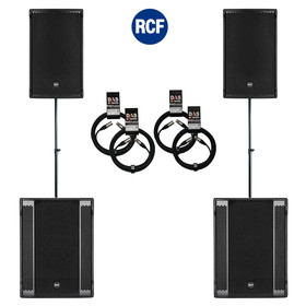 Bundle 2x RCF SUB 905-AS II Bass + 2x NX 32-A 7200 W K&M Distanz + Kabel