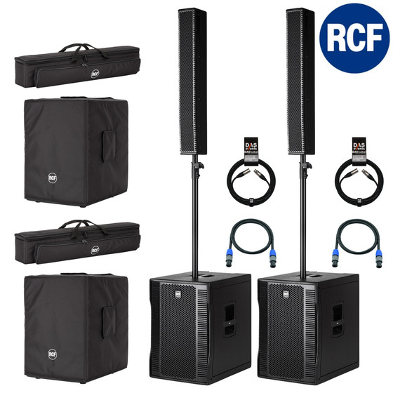 RCF 2x EVOX 12 aktives PA System 1400 Watt SET STEREO inkl. Cover + Kabel