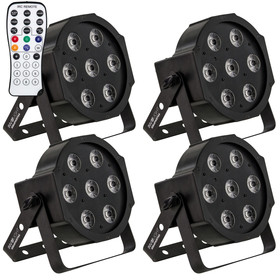 Bundle 4x Involight SlimPAR766 LED Par 7x 6W 6in1 RGBWA+UV LEDs, 25° IR-Remote