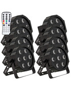 Bundle 8x Involight SlimPAR766 LED Par 7x 6W 6in1 RGBWA+UV LEDs, 25° IR-Remote